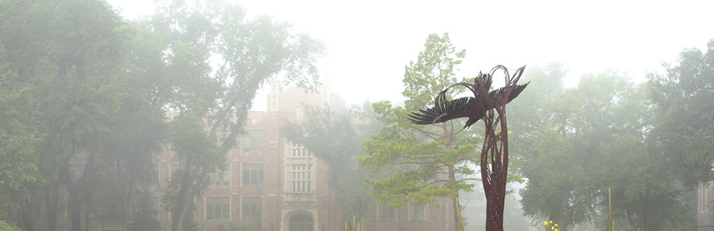 UND campus quad in the fog