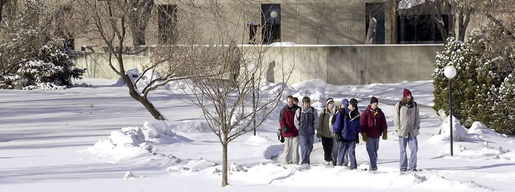 students in winter