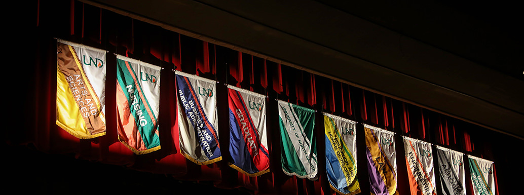 Flags of all UND colleges and schools