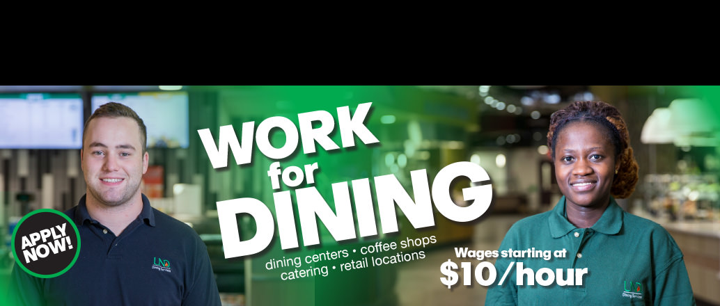 Now hiring advertisement for UND Dining Services