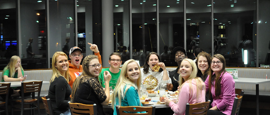 Students dining together in Wilkerson Dining Center