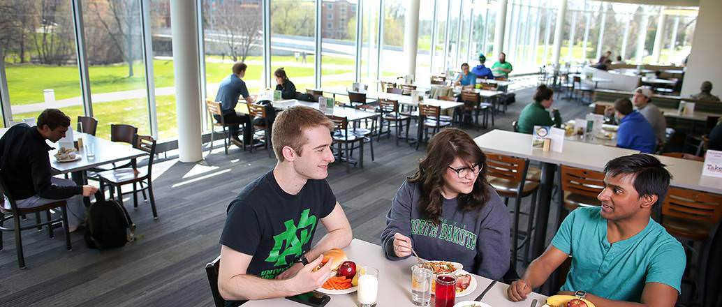 Students enjoying a meal at Wilkerson dining center