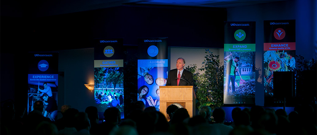 President Kelley speaking at the Exceptional UND event