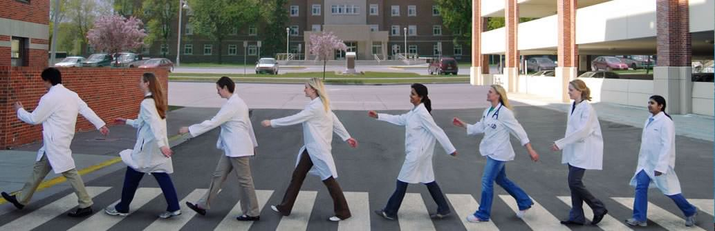 UND medical students spoofing the Abbey Road Beatles album cover