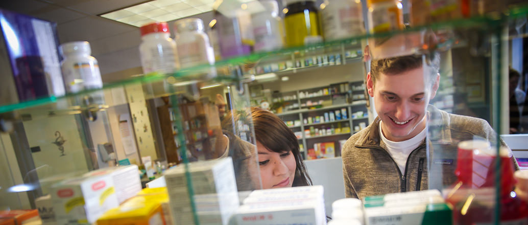 Students at the UND Student Health pharmacy