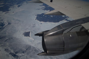 Cabin view of Polar Ice from First Air Flight into Nunavut, Arctic Canada.