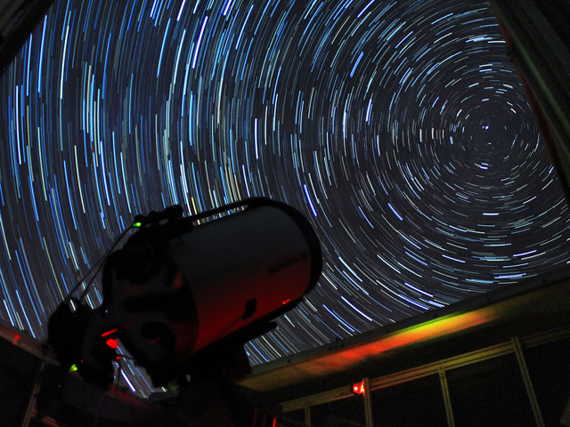 At UND's Observatory, a telescope gazes out towards the stars.