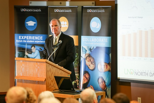 UND President Robert Kelley at his annual State-of-the-University address.