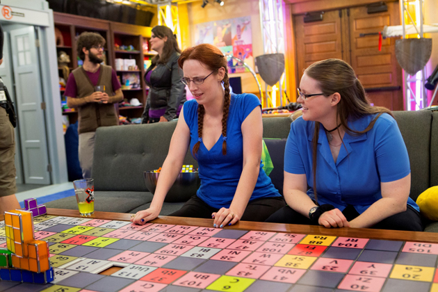 "Kayla LaFrance (right) in the ""Nerdvana"" mansion on the show King of the Nerds. (Photo courtesy of Turner Broadcasting System)"